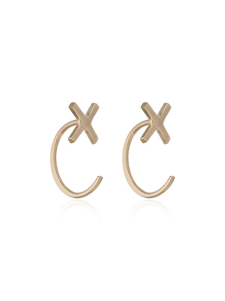 Melissa Joy Manning cross women earrings stud earrings gold grey metallic jewels