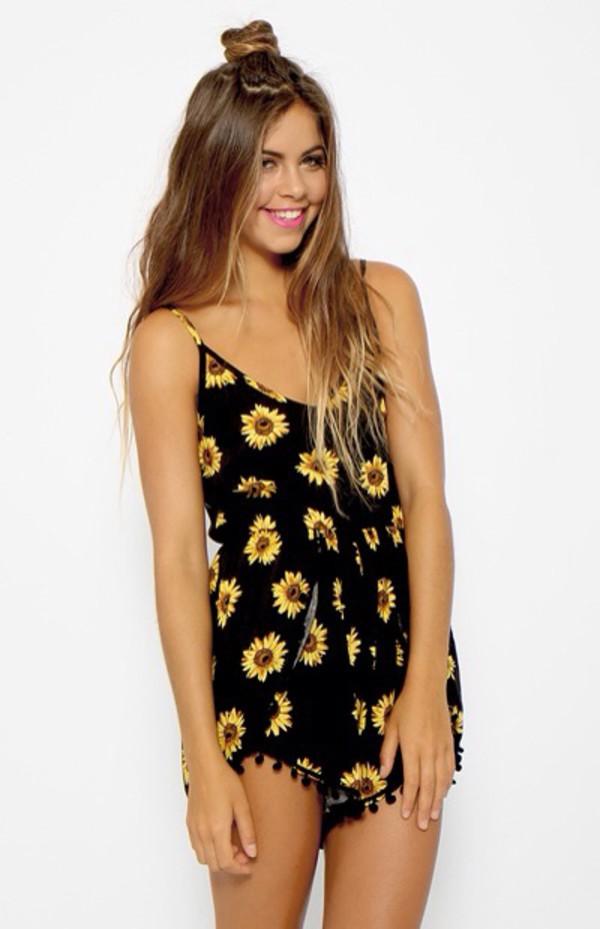 romper grunge boho bohemian flowers summer sunflower jumpsuit yellow tracksuit top shorts floral flowered shorts black jumpsuit overalls summer dress dress black dress