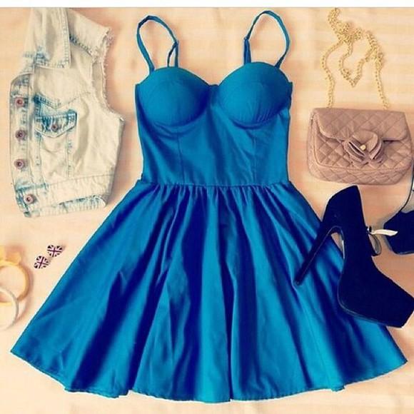 vest blue dress short