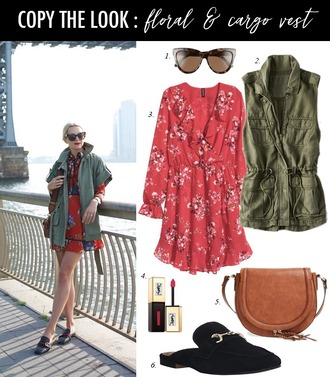 dailystylefinds blogger sunglasses jacket dress bag shoes red dress army green jacket loafers shoulder bag spring outfits