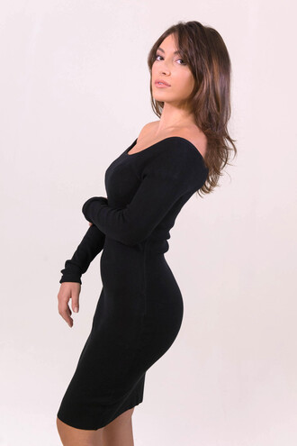 dress black party bodycon fashion off the shoulder style midi dress freevibrationz black dress long sleeves sexy hot little black dress party dress free vibrationz