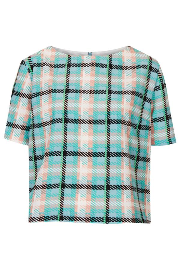 shirt check tee t-shirt light blue blue