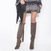 shoes,knee high boots,taupe boots,suede boots,tassel boots,angl clothing,angl