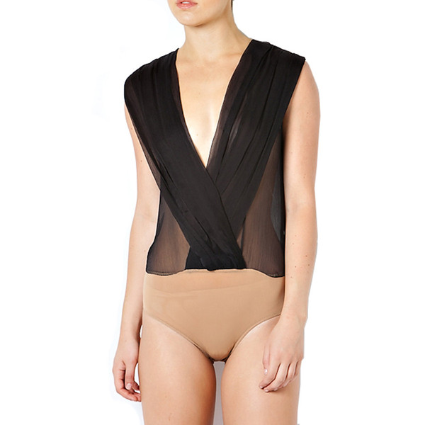 PLEATED CROSSOVER FRONT BODYSUIT | Emprada