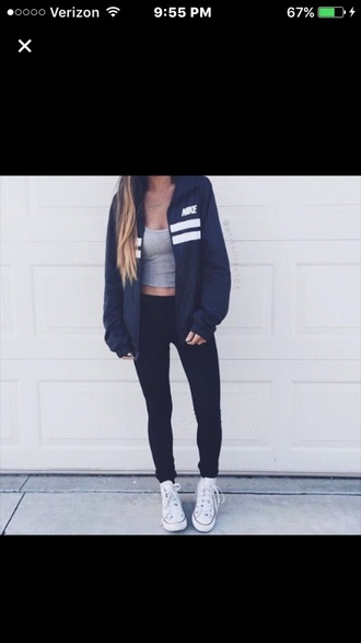coat adidas jacket sweatshirt black nike white black and white nike jacket navy blue jacket grey top grey tank top tank top crop tops grey crop top black pants black leggings leggings workout leggings workout sportswear sweater tumblr fashion vibe girly grey stripes nike windbreaker windbreaker two stripes