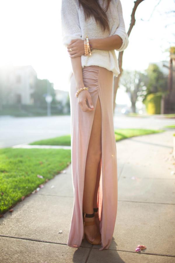 skirt slit maxi skirt