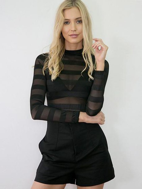 top mynystyle black mesh fashion trendy style summer casual cute