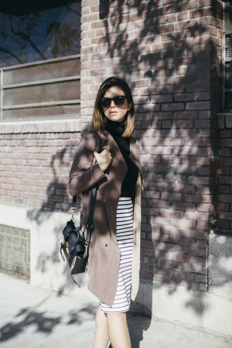 blogger bag sunglasses take aim coat striped skirt