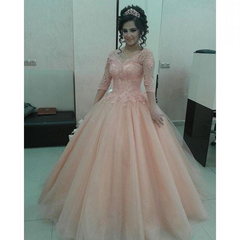 Pink 1/2 Long Sleeves Arabic Prom Dresses 2016 Ball Gown Sparkly ...