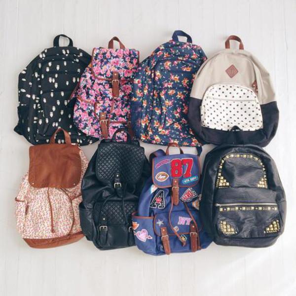 bag floral floral backpack back to school cartable bag studs backpack style polka dots leather backpack black backpack flowers polka dots school bag floral bag lovely backbag