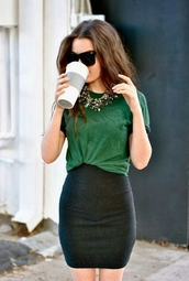 shirt,skirt,green,necklace,sunglasses,casual dressy,t-shirt,fashion,bodycon skirt,jewels,green shirt,tucked in,black skirt,pintrest,high waisted skirt,classy,black pencil skirt,green top,baggy top,dress,emerald green,pencil skirt,top,black,comfy,statement necklace