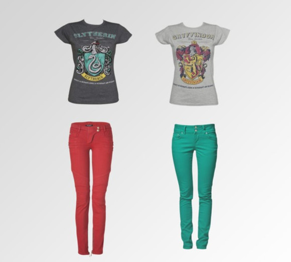 grey shirt jeans slytherin gryffindor red pants green pants blue pants black shirt dark grey shirt