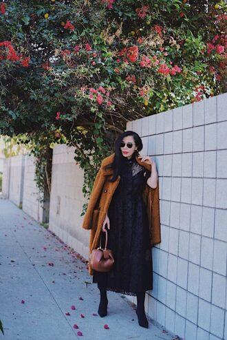 hallie daily blogger coat dress socks shoes sunglasses winter outfits teddy bear coat midi dress