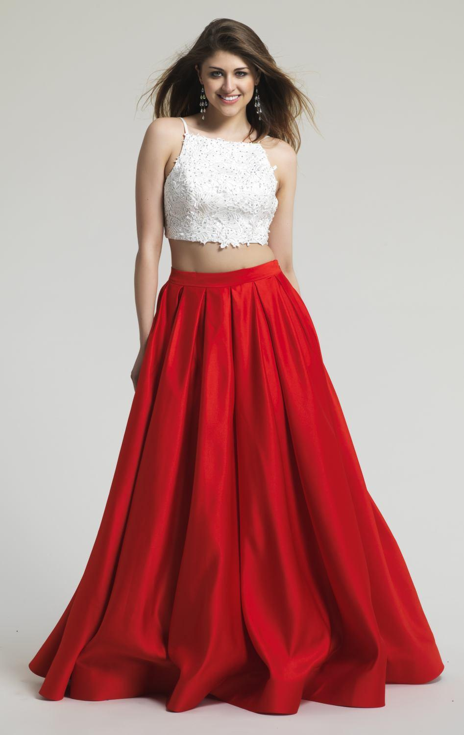 Size Two Pieces Prom Dresses 2016 White Lace Red Satin Beaded