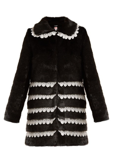 Shrimps coat fur coat fur lace black