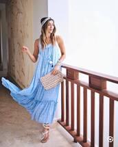 dress,tumblr,blue dress,maxi dress,light blue,sandals,flat sandals,white sandals,clutch,headband,shoes,scarf