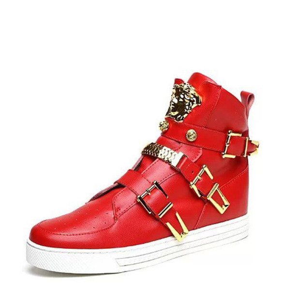 shoes, versace leather hi-top sneakers red - Wheretoget