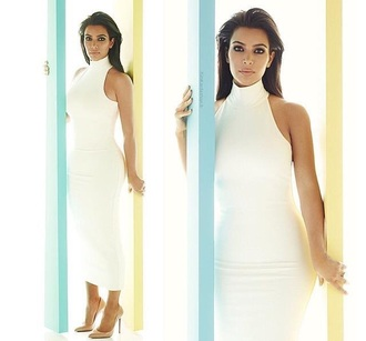 bodycon dress white dress white sexy dress kardashians kim kardashian