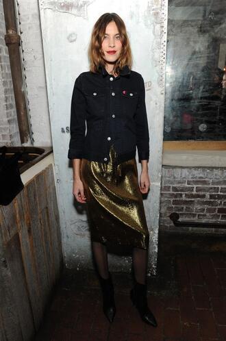 dress metallic gold alexa chung