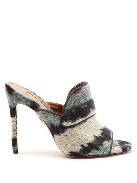Aquazzura mules velvet blue shoes