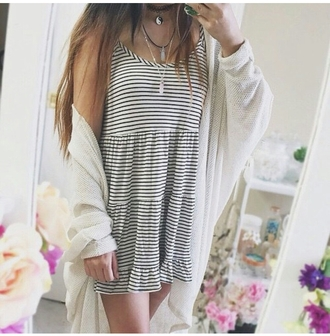 dress striped dress short dress oversized cardigan white cardigan choker necklace pendant tumblr outfit tumblr girl fashion inspo trend style trendy on point clothing cardigan