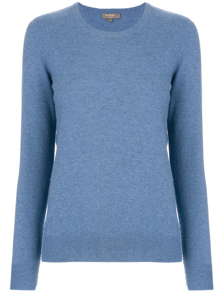 N.Peal - round neck sweater - women - Cashmere - XS, Blue, Cashmere