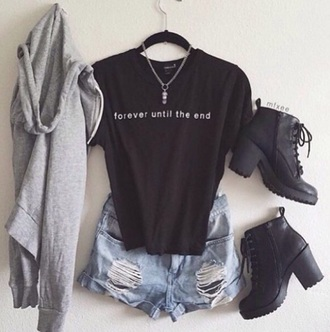 shirt dress shorts shoes black tumblr shirt black boots platform shoes sweater grey necklace jacket tumblr grunge soft grunge hipster jewels forever 21 outfit h&m ankle boots denim shorts ripped shorts annemerel blogger