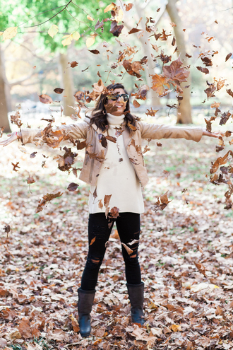 this time tomorrow blogger leather jacket turtleneck fall boots