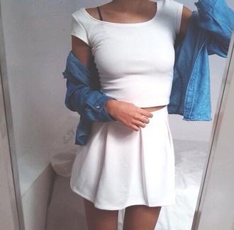 dress white dress black and white dress skirt pleated skirt two-piece jacket white skirt plain white top