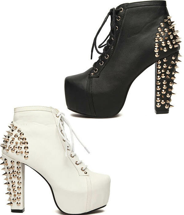 Sexy Super Star Spike Stud Lace Up Ankle Booties Chunky Platform High Heel Boots | eBay