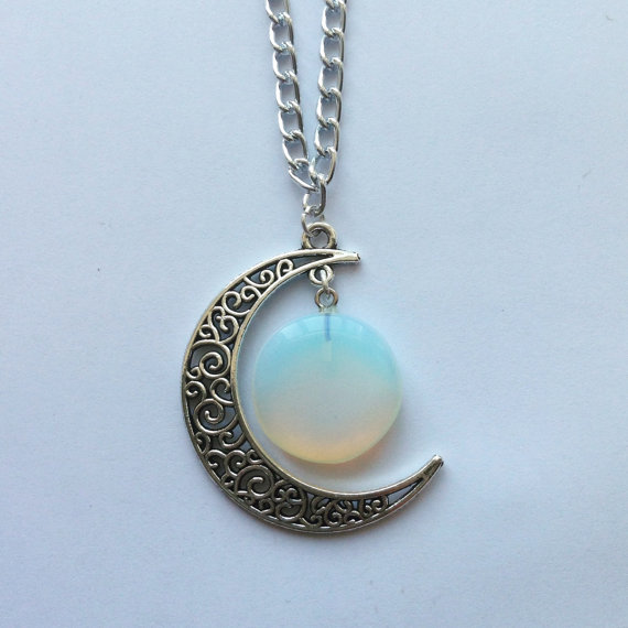 The Spiral Crescent Necklace - Opal Moonstone - Opalite - Crescent Moon - Silver