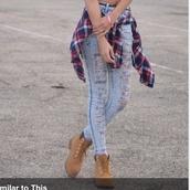 tartan,plaid shirt,ripped jeans,acid wash jeans,timberlands,skinny jeans