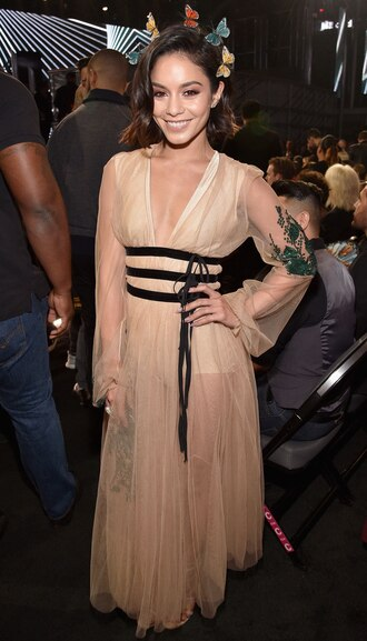 dress see through see through dress vanessa hudgens maxi dress billboard music awards belt