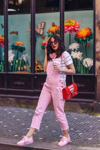 jumpsuit shoes overalls skirt pink  overall bag red dress pink shoes sunglasses