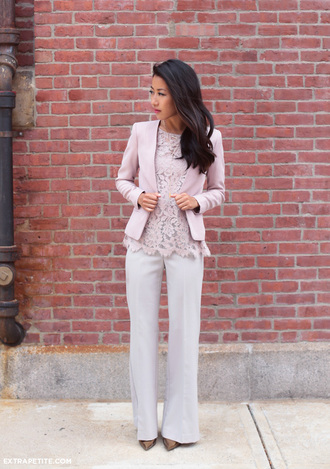 extra petite blogger pink jacket lace top office outfits