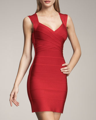 Herve Leger Cross-Bust Bandage Dress - Neiman Marcus