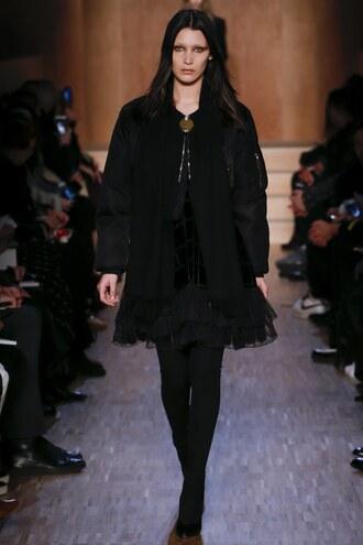 dress jacket bella hadid givenchy fashion week 2016 paris fashion week 2016 runway model all black everything