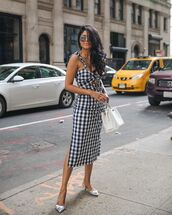 shoes,heels,metallic,silver shoes,dress,midi dress,sunglasses,bag,checkered dress