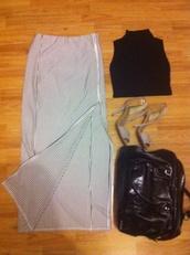 bag,skirt,crop tops,high heels,longchamp