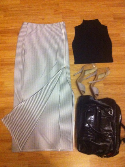 bag longchamp skirt crop tops high heels