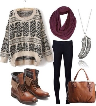 bag shoes scarf sweater