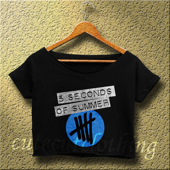 5sos shirt 5 seconds of summer crop top logo black aq