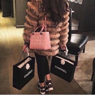 coat fur fur jacket brunette curly hair leggings chanel bag amazing fashion