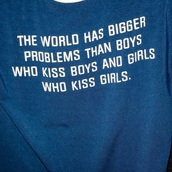 shirt,blue,blue shirt,quote on it,graphic top,gay pride