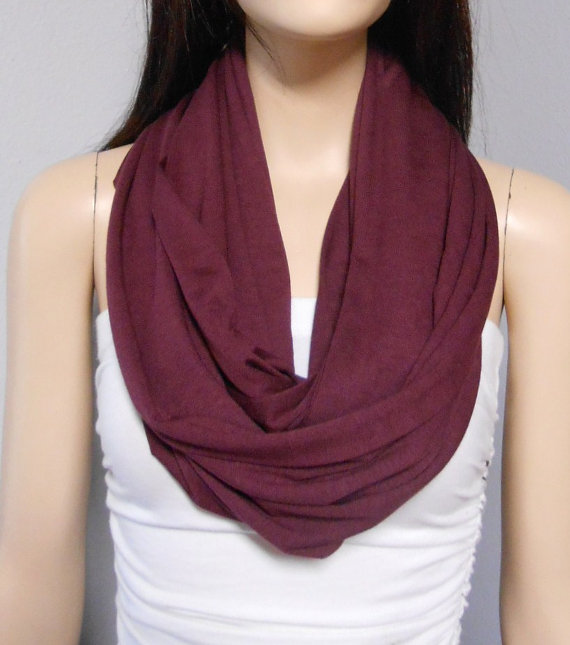 WINE Burgundy Maroon  Infinity Scarf SUPER by GypsysWildHeartShop