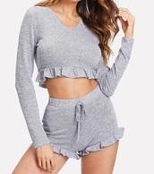 romper,girly,ruffle,knitwear,knit,grey,grey sweater,crop,crop tops,cropped,cropped sweater,shorts,two-piece,matching set,lounge wear