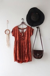 dress,bohemian,festival,ethnic,red,smock,indian,pattern,hippie,shirt,brown,brown dress,short dress,babydoll dress,red dress,orange dress,printed dress,blouse,babydoll,babydoll cut,red shirt,orange shirt,short sleeve,boho shirt,hat