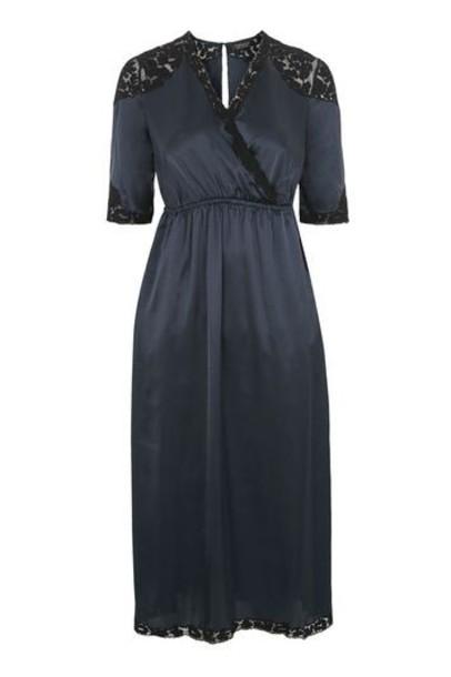 Topshop dress midi dress midi lace navy blue satin