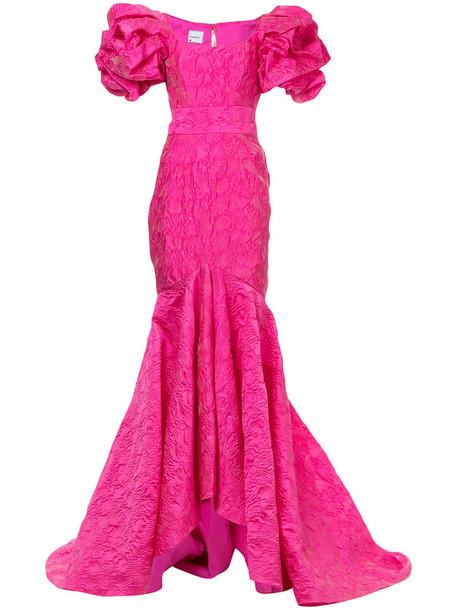 gown women mermaid silk purple pink dress