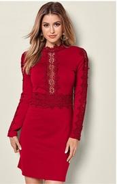 dress,lace dress,short dress,mock neck,turtleneck,long sleeve dress